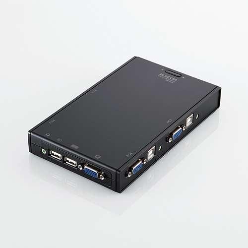 ELECOM パソコン切換器/USB接続/KVM/BOX型/4ポート