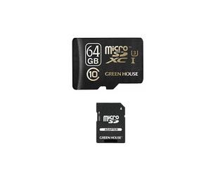 GREENHOUSE microSDXCカード(アダプタ付) 64GB UHSスピードクラス3対応 64GB