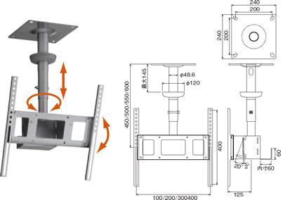 HAYAMI 〜49v型25kg以下w:100/200/300/400、H:100〜400対応 TH-S46