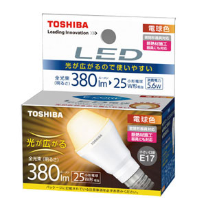 TOSHIBA コンパクトなLED全配光電球 E17口金